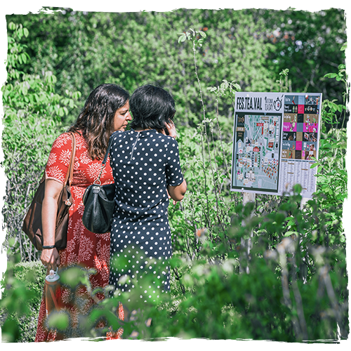Ladies Looking at the map FesTeaVal Distressed effect 500x500